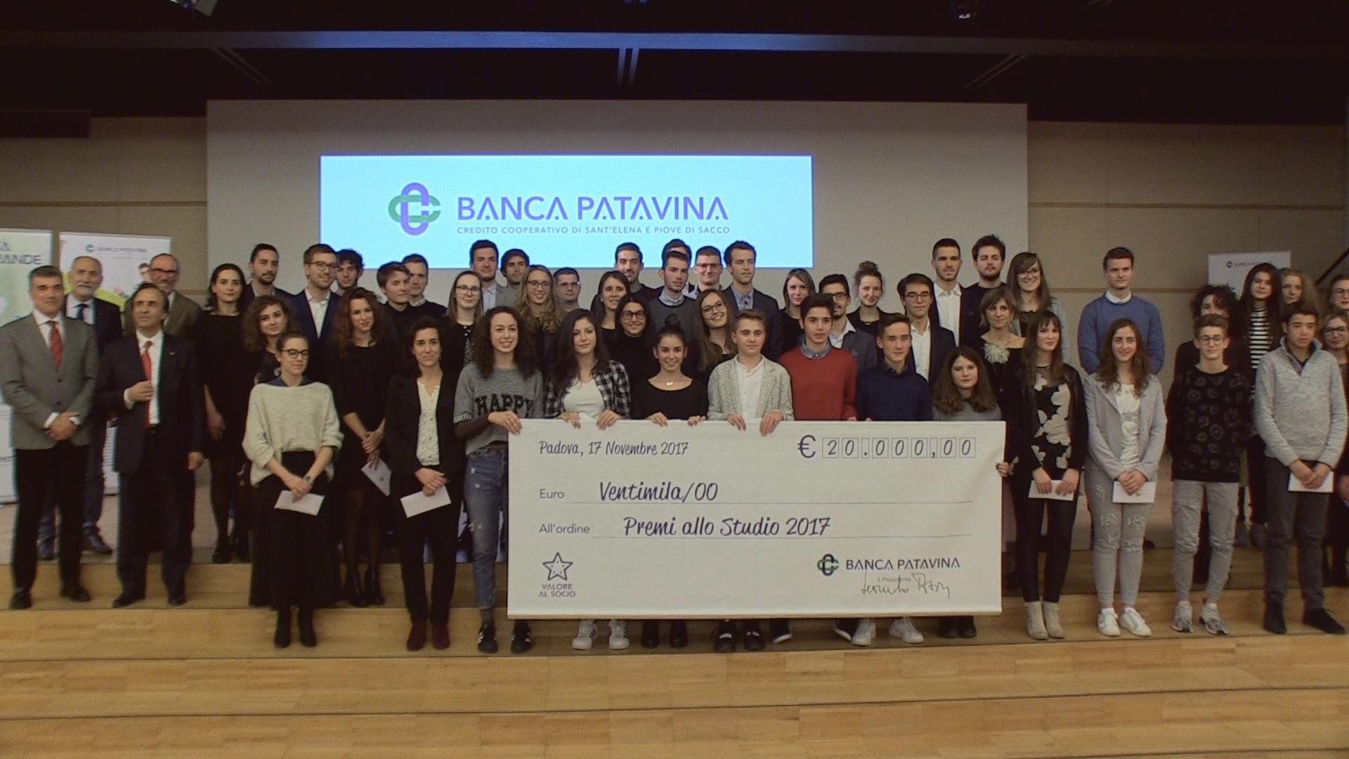 PREMI ALLO STUDIO – BANCA PATAVINA PREMIA 62 GIOVANI STUDENTI